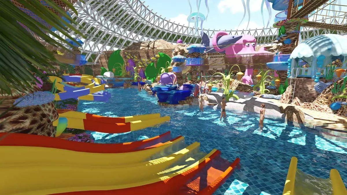 虹溪谷室内外水上乐园由水上王国,发现王国,水上探险三大片区组成