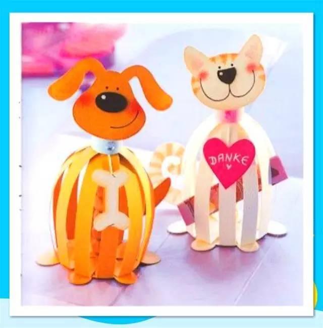 就用彩色的纸条做成的小动物,孩子喜爱极了!图片