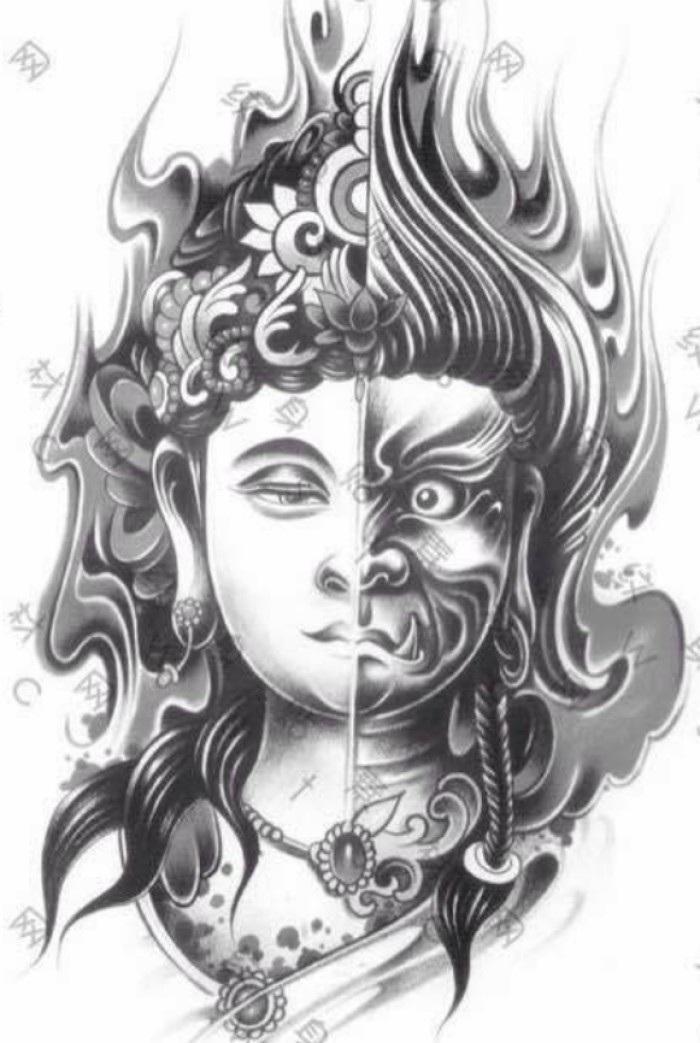 时尚 正文  这期善恶佛魔纹身素材分享到这,下期素材《斗战神佛》.图片