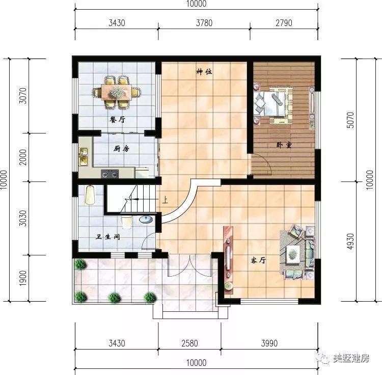一层入户即使客厅里面设计了神位符合大多数农村习俗,客厅和厨房相连图片