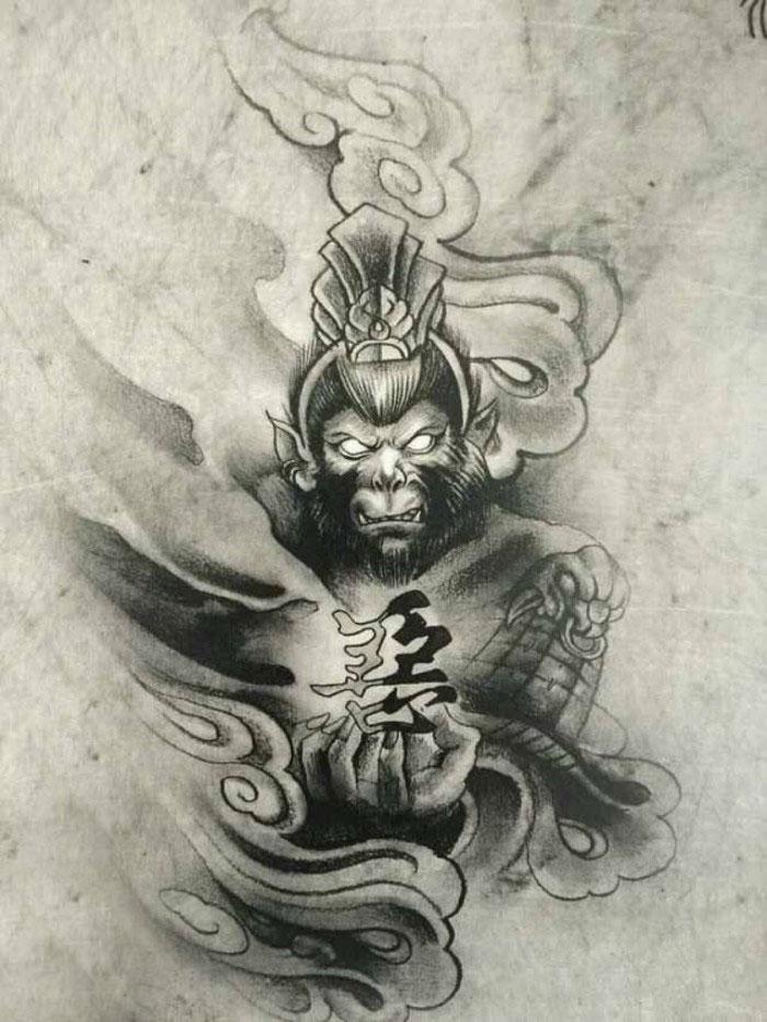 孙悟空纹身寓意着勇敢机智,刚正不阿,就像孙悟空的性格那样.