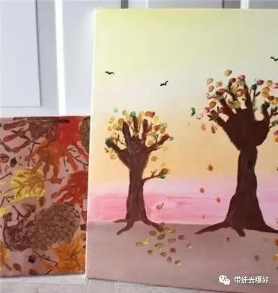 手指画大树图片