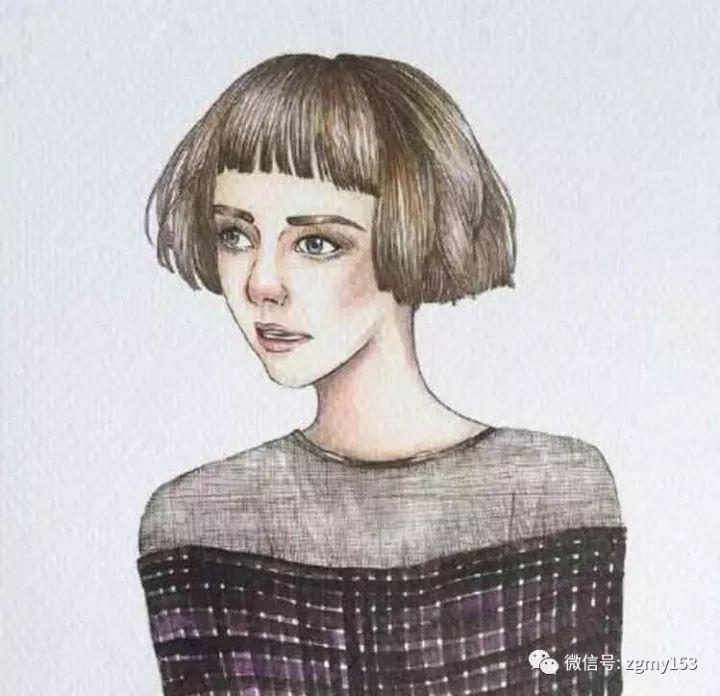 唯美手绘女生短发