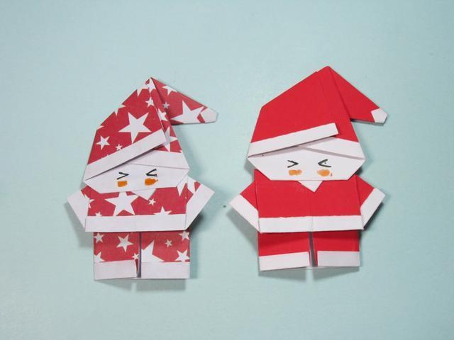 儿童手工折纸 圣诞老人折纸步骤图解