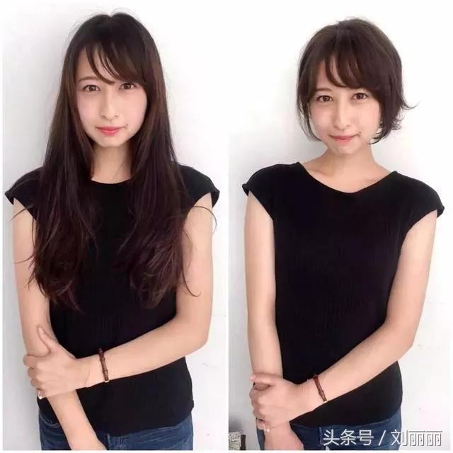 日本作文長發剪短對比圖23組,家庭越看越上癮初中短發文明妹子公約圖片