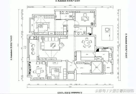 三室两厅140平美式风格装修效果图—太原乐豪斯