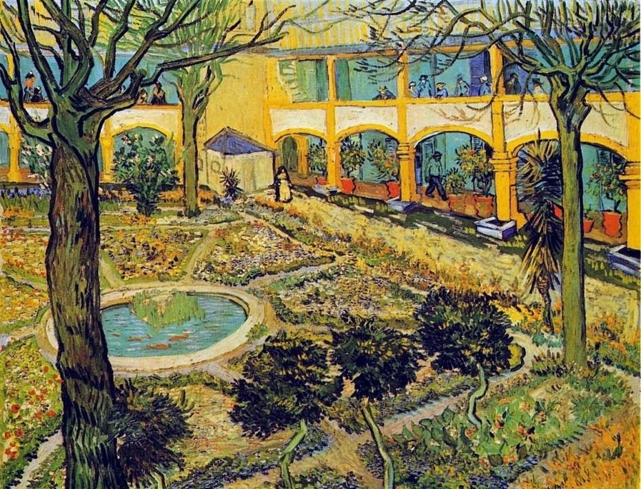 (附梵高画作:割耳后自画像,《阿尔勒医院的庭院》素描和绘画)图片