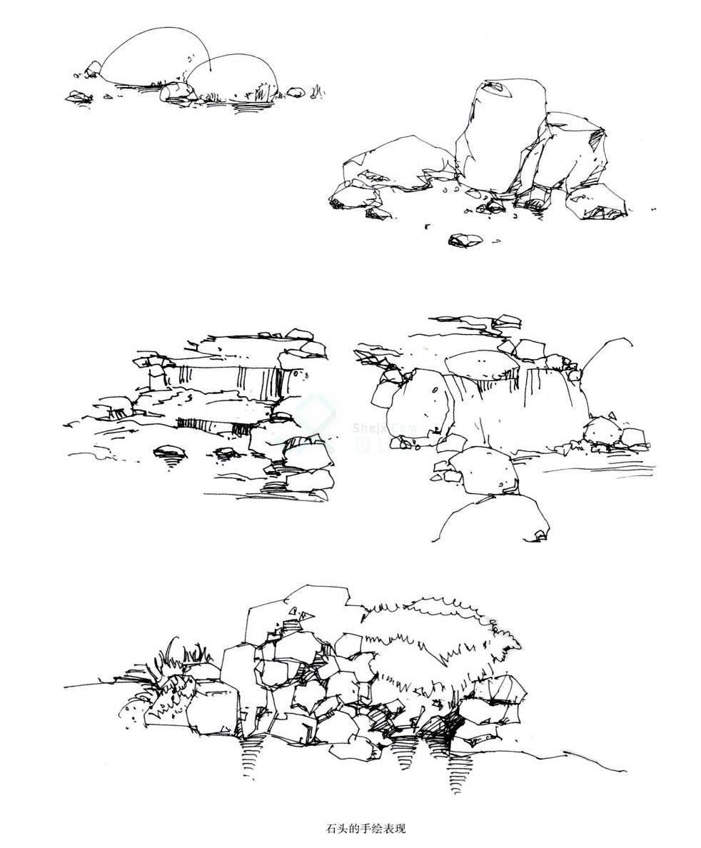 手绘石头及其水景线稿的画法