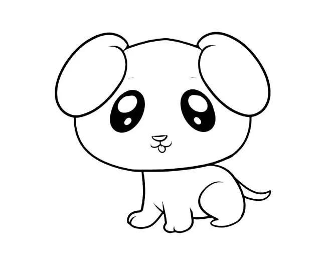 呆萌可爱小狗简笔画图片呆萌可爱小狗动物简笔画步骤图片大全 简笔画