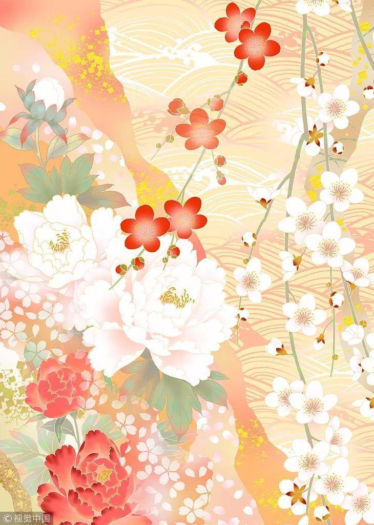 式样,花纹,美,花卉,日本文化,樱花,梅花,牡丹,工笔画.