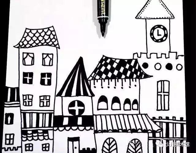 ③通过线描的点线面的灵活应用,房子就装饰好了,装饰时,注意疏密和图片