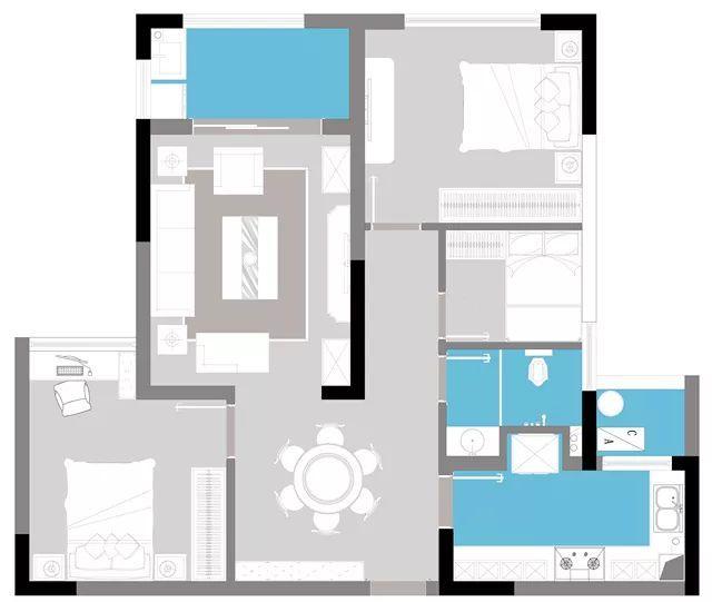 绘装新房▶90㎡现代简约三居室