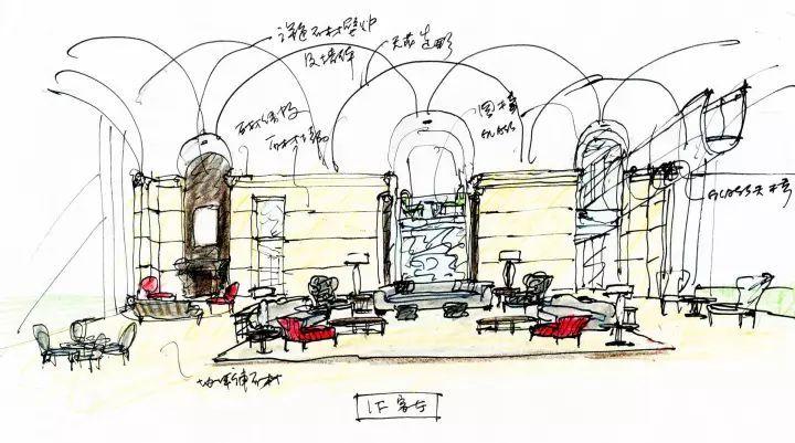 邱先生手稿:一座净高7米,面积达160平米的大客厅架在原本的两座建筑