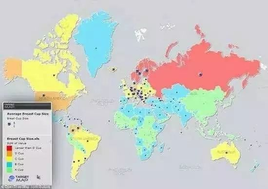 全球女性胸部地图