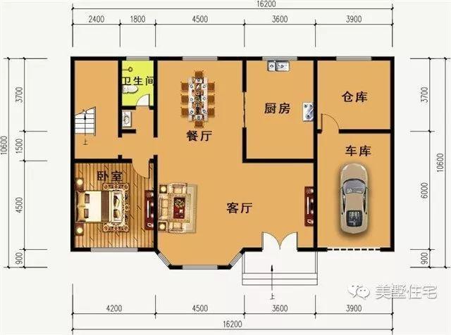 2x10.6米农村自建房,最爱的挑高客厅,还有车库