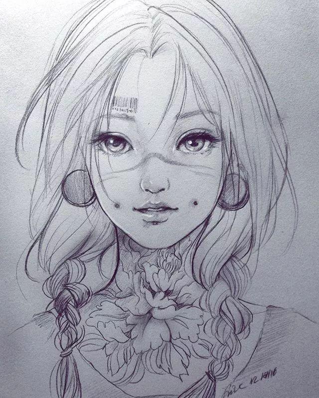 素描卡通少女眼睛画法