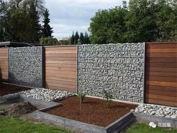 很适合用在乡村庭院和民宿小院中 06 石笼围墙 笼子里装上石头 做成一图片