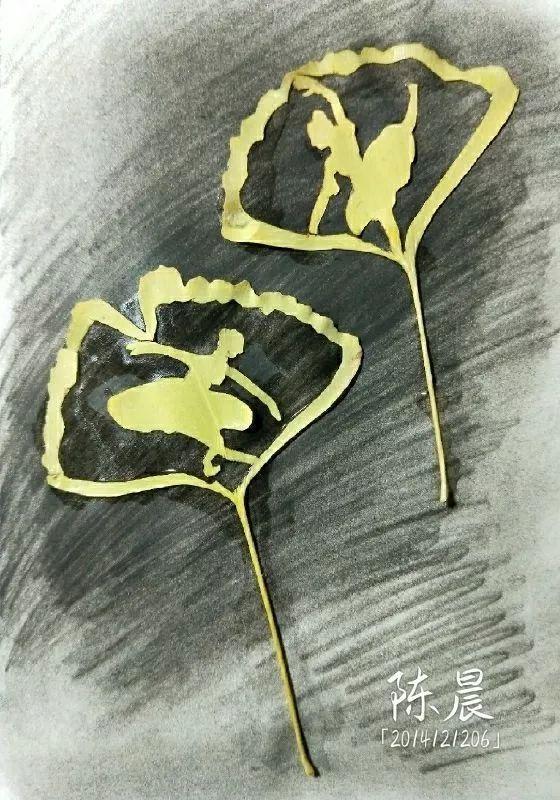 104件作品,形式各异,有的用银杏叶制作手工花,有的在银杏叶上涂鸦,有图片