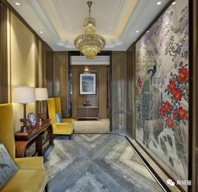 背景墙 拼花 大理石地砖拼花,纹理对称铺开,美艳中带点冷调,让新中式图片