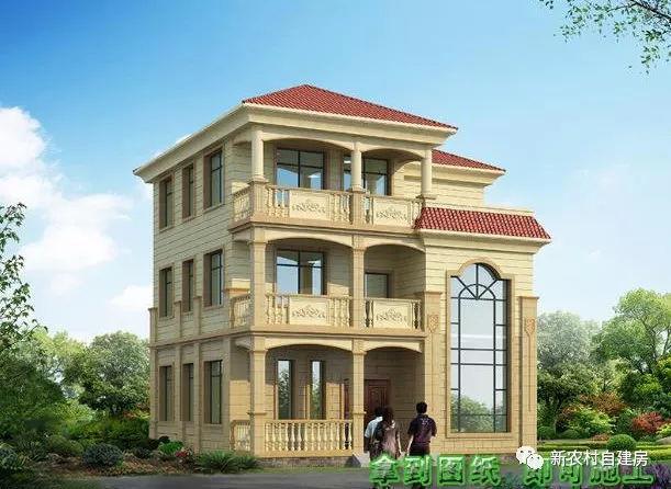 4款三层农村别墅设计图,只要30万,第4款有8间卧室
