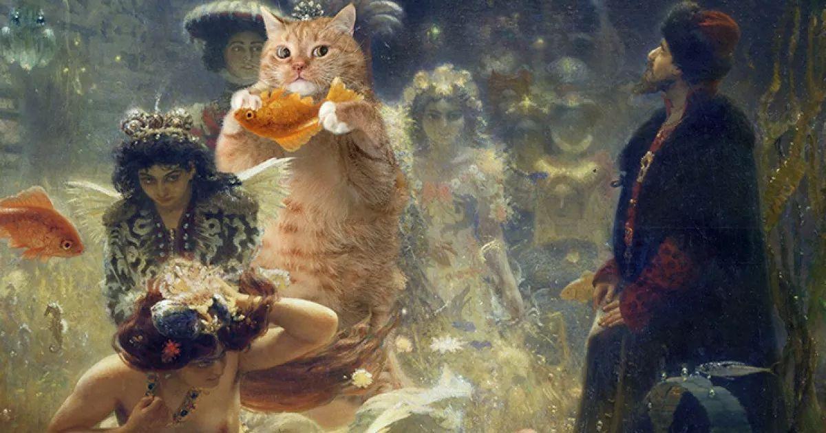 【脑洞艺术】——一只闯入世界名画圈的俄罗斯肥猫