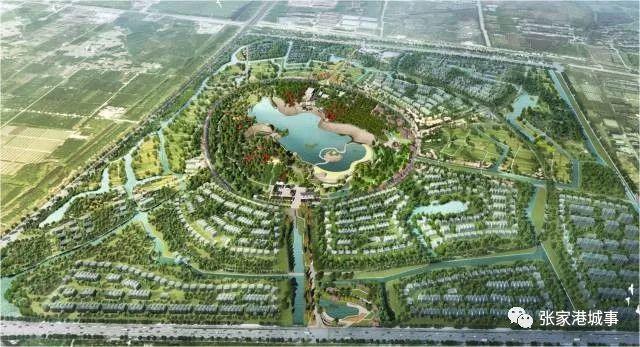 (手绘效果图) 规划以田园社区,鸷山绿核, 开心农场为三大建设重点.