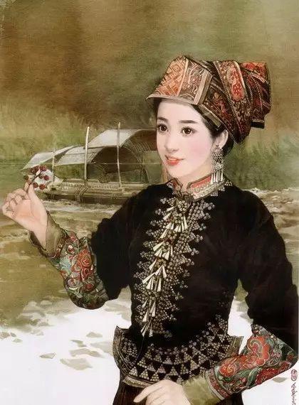 中国56个民族手绘插画美女,惊艳唯美!
