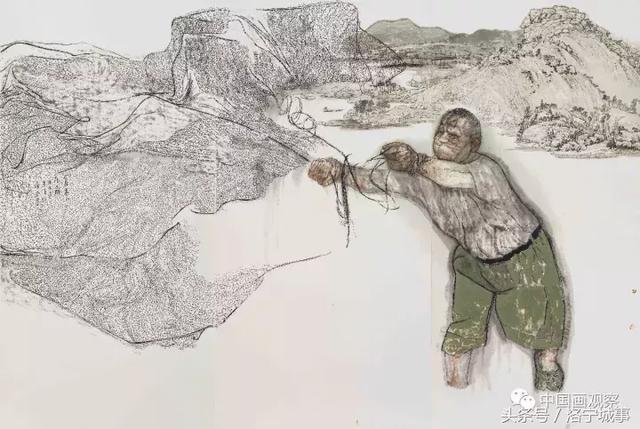 《富春山居图》 270x393cm 2015年 让我感到吃惊的是,当他创作《抗联组画》时,他为十三名抗联官兵的群像起名《生存》,为一个抗联士兵的那一幅起名《牺牲》。哪怕陷入了天寒地冻、弹尽粮绝的绝境,只要群体存在,尚有生存的一线生机;但是,一个人,哪怕像杨靖宇那样的军神一样的铁汉,结果也是牺牲。对人的这种认识的转变,从沉溺于个人自我的优雅的伤感,到豁然洞见群体之于社会和历史的强大力量,到底是什么在袁武思想深处催发出这么深沉的变化呢?难道真的是十四年的军旅生涯吗?难道真的是军人这种群体性最强大的人类组织对