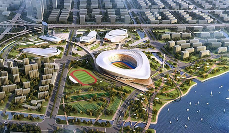 2014年底开建的宁波奥体中心,一期工程即将于明年落成,二期主体育场图片