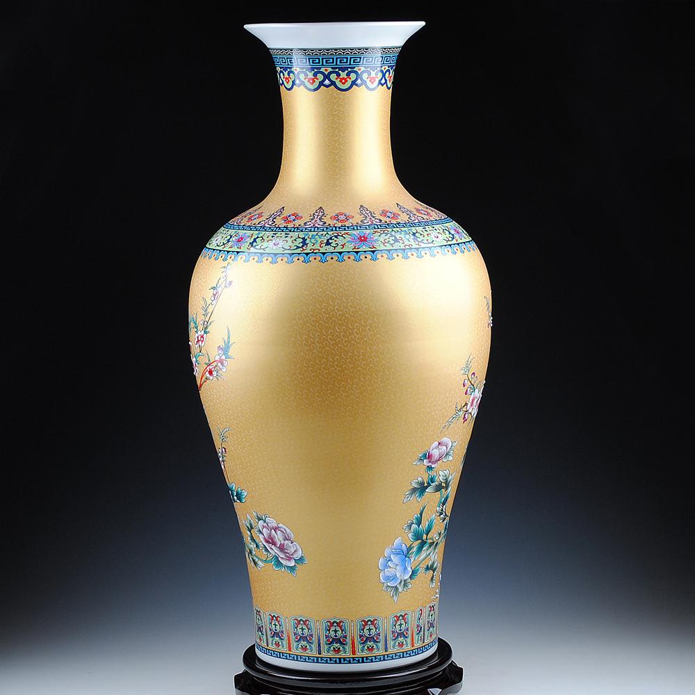 景德镇陶瓷器 欧式珐琅彩落地大花瓶 现代家居客厅装饰工艺品摆件