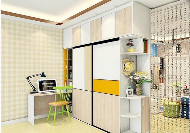 衣柜作为隔断隔开客厅和卧室两个空间,双面柜体利用,方便实用.