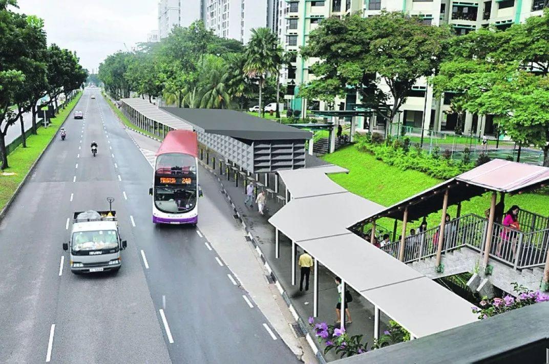 新加坡公交站处的风雨连廊-风里雨里守护你 风雨连廊
