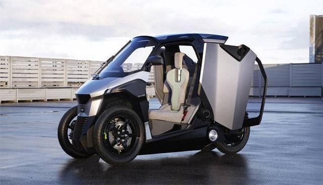 标致倒三轮PHEVScooter混动概念车续航300km