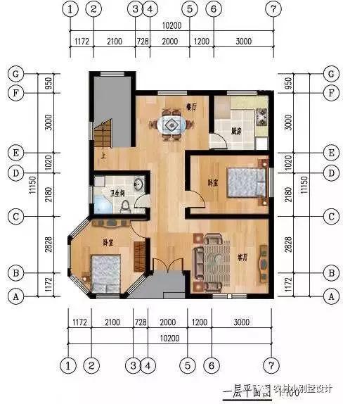 一层平面设计图:包含了客厅,餐厅,两间卧室,厨卫,楼梯.