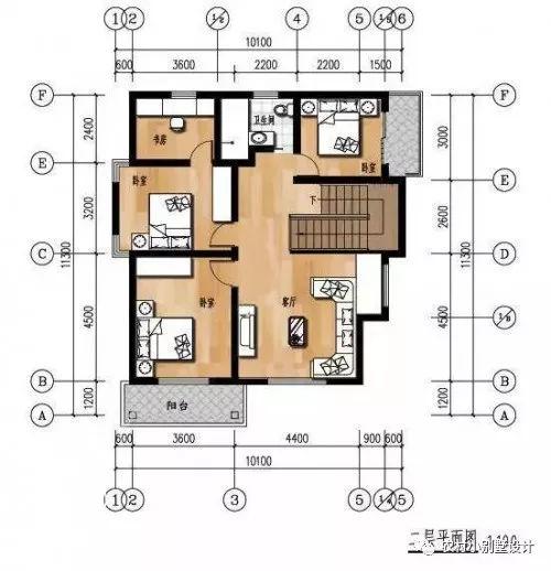 二层平面设计图:包含了起居室(客厅),书房,3间卧室,卫生间,楼梯.