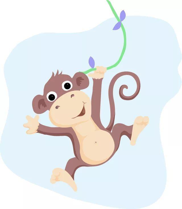注意保护孩子们的眼睛 一群猴子在森林里玩,有的在树上蹦蹦跳跳,有的