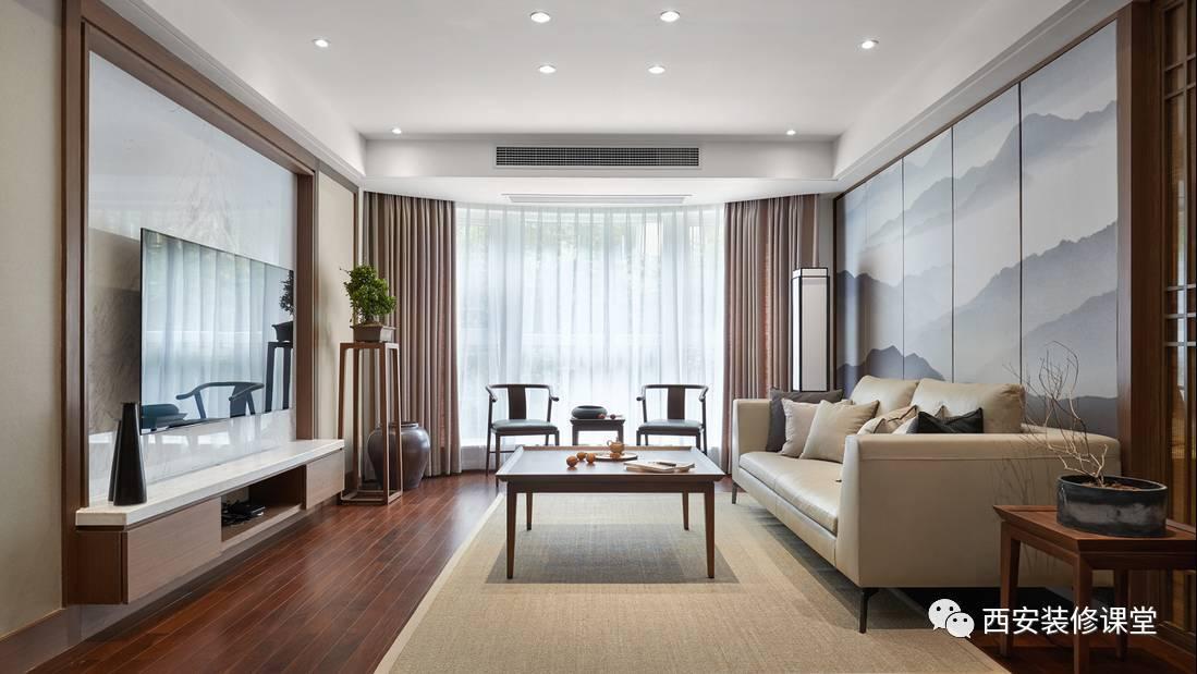 新中式客厅,整体平面吊顶设置,四周实心吊顶,辅助光照明