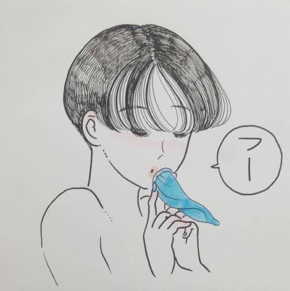 宫崎骏手绘女孩吃饭