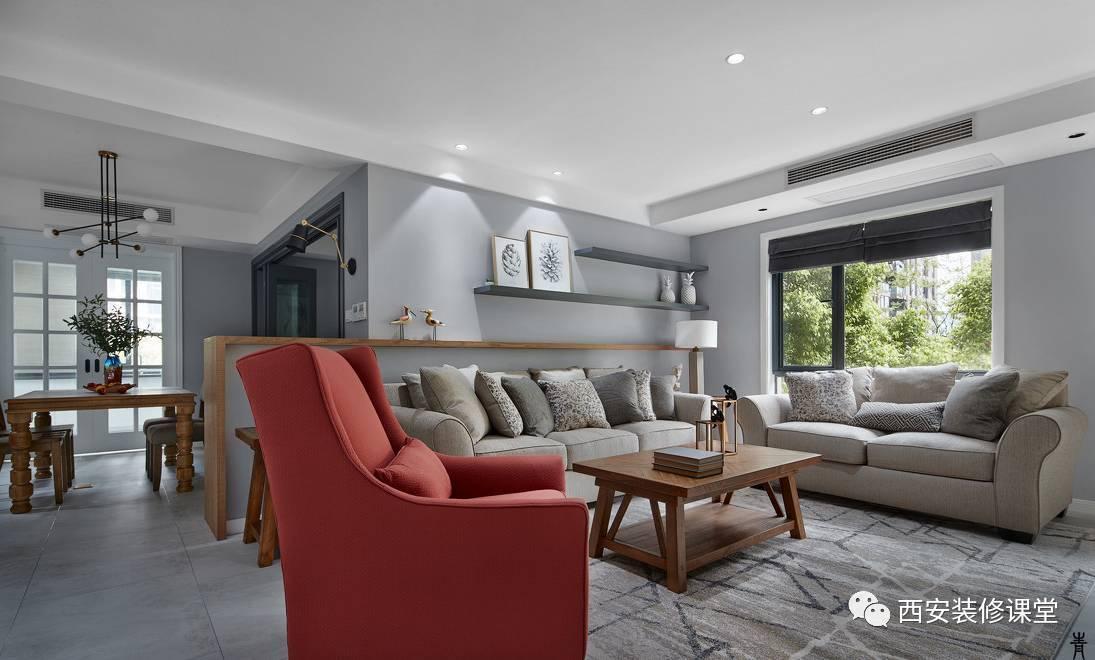 北欧混搭灰色冷色调客厅,整体平面吊顶,辅助光照明图片