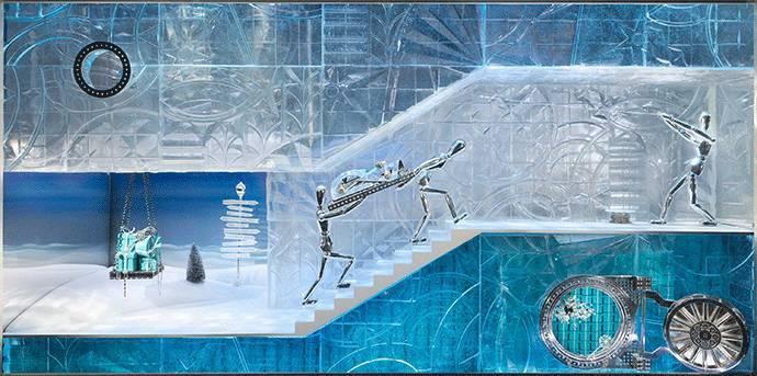 蒂芙尼 2017 奇幻圣诞橱窗手绘图及橱窗