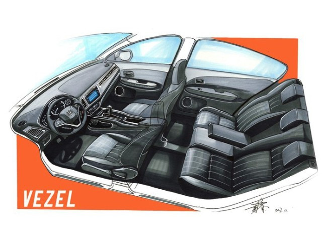 绘制一个缤智整车的车内空间.