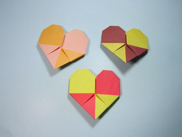 手工折纸心 双色爱心的折法步骤图解