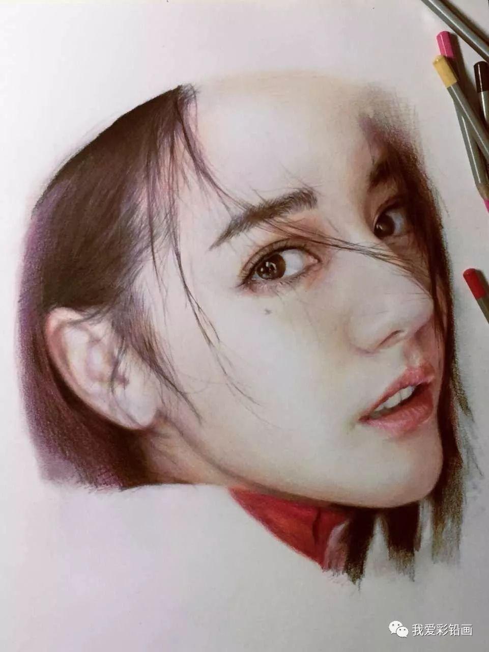 大神彩铅手绘~迪丽热巴!超美