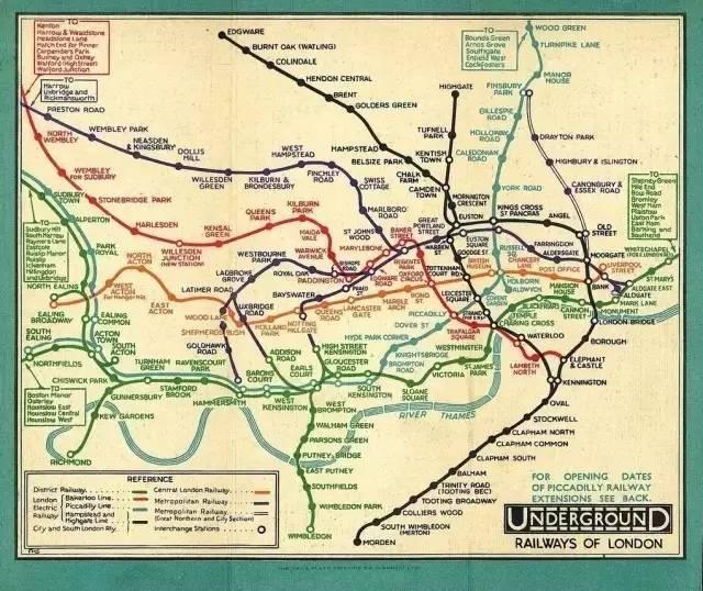 绘制后的伦敦地铁线路图图片