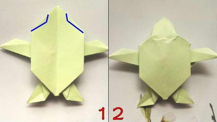 11、然后从中间往两边翻折,两边的压过来后,就是上图1的样式。 12、按照上图中蓝线标注,折出乌龟的头部,最后全身整理一下,让乌龟变得更加立体一点,就做好了。 是不是很简单呢?小伙伴快动手试一下,教小朋友也很合适的哦!