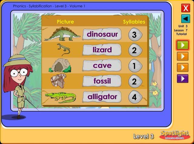 美国小学英语3级3单元7课多媒体自然拼读音节切分