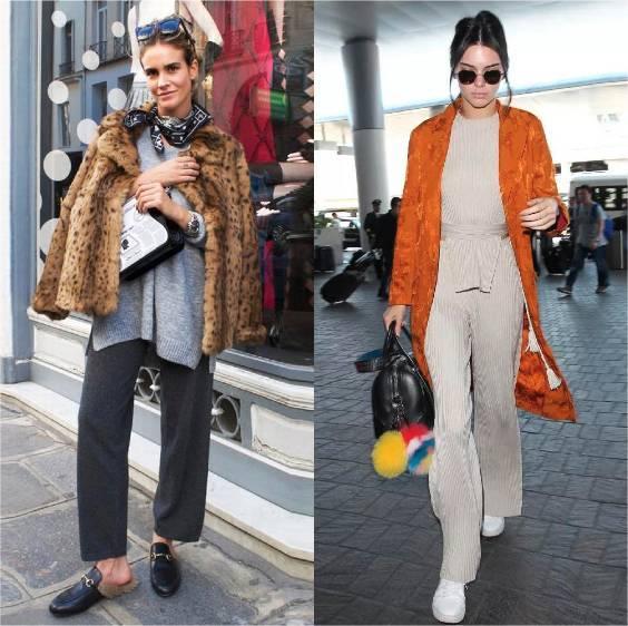 单品:9 分针织裤  最佳搭配:长款大衣 看起来才精神, 但看图片上两个