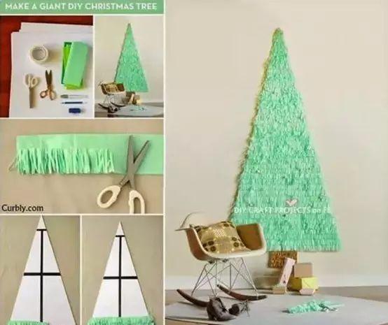 首先准备好一张白色卡纸,剪裁成三角形圣诞树的形状,然后将绿色皱纹