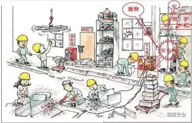 警示教育 一幅施工漫画,多少安全隐患