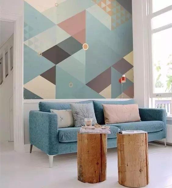 手绘墙面几何色块